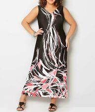 Avenue Stretch Knit Black Printed Sleeveless V-Neck Maxi Dress Size 14/16