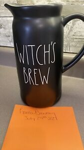 """New 2021 Rae Dunn Matte Black """"WITCH'S BREW"""" 2-Sided Ceramic Pitcher HTF!"""