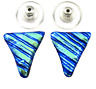 """DICHROIC Post EARRINGS 1/2"""" 12mm Teal Green Blue Ripple Triangles GLASS STUD"""