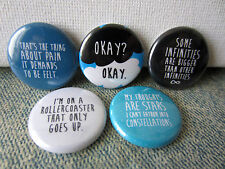 "The Fault in Our Stars 1"" Pinback Button Set of 5"