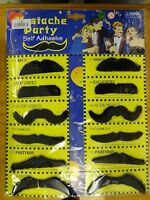 Pack of 12 Assorted Black Moustaches Self Adhesive Fake Set Fancy Dress Party