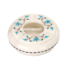 """4"""" Marble Smoking Ashtray Turquoise Floral Arts Inlay Marquetry Gift Decor H3659"""