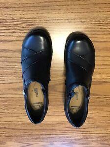 clarks black leather shoe size 7 Med