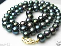 8-9mm Genuine Natural Black Akoya Freshwater Pearl Necklace 18'' AAA+