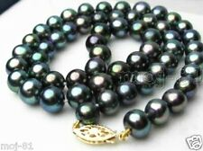 """AAA++ Genuine Natural 9-10mm Black Freshwater Pearl Necklace 18"""""""