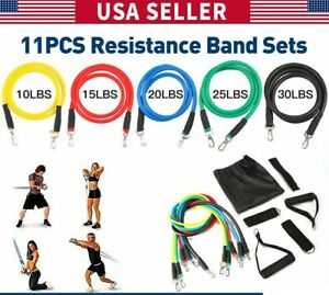 12 PCS Resistance Band Set Yoga Ab Fitness Exercise Home Gym Workout + Jump Rope