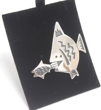 Brooch 925 Big Fish Little Fish Sea Animal Silver Jewellery 10g Ladies Gift