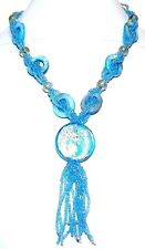 """FN138 Blue Silver Foil Glass Pendant & Mother of Pearl Gemstone Necklace 18"""""""