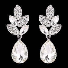 Bridal Leaf Clear Austrian Crystal Teardrop Dangle Pierced Earrings Silver Tone