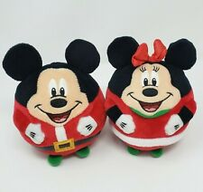 TY DISNEY MICKEY & MINNIE MOUSE BEANIE BALLZ CHRISTMAS STUFFED ANIMAL PLUSH TOY