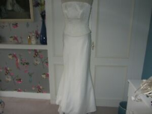 Essence ivory beaded satin mermaid gown size 10