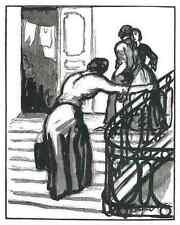 Emilien Dufour-en la escalera-original corte de madera 1925