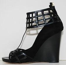 Sale!! Sexy new DEREK LAM Beryl Black Suede Leather 3'' Wedge Shoes Sz 8.5