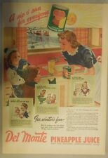 Del Monte Pineapple Juice Ad: Gee, Winters Fun ! 1940's 11 x 15 inches