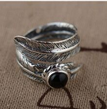925 Sterling Silver Adjustable Feather Ring Leaf Onyx Stone Black statement