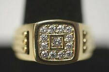 14K Yellow Gold Mens Diamond Ring Size 10