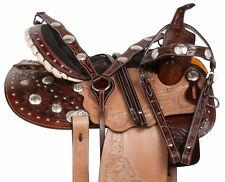 PRO 14 GAITED WESTERN PLEASURE TRAIL TOOLED LEATHER HORSE SADDLE TACK SET