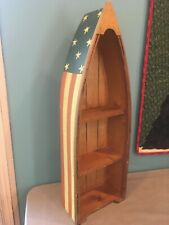 Nautical Decor- Wooden Boat Wall Display Shelf w/red, white,& blue w/stars