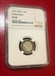 1881 INDIA 1/4R COIN PORTUGUESS NGC VF 30