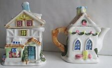 Houston Harvest Christmas Cottage Tea Pot and Cottage Tea Bag Holder