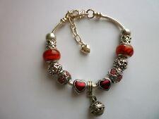 *Silver Tone European Style Charm Bracelet Lampwork Glass Beads Red Hearts