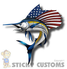 USA America Marlin Fish Sticker Decal Car Truck Sword Fishing Boat Boating Cup