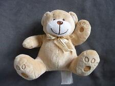 Doudou petit KIMBALOO ours assis marron clair beige noeud ruban autour du cou