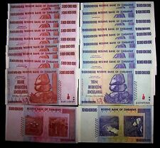 20 Zimbabwe banknotes-10 x 5 &10 Billion dollars-paper money currency