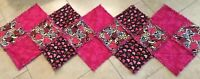 Patchwork Quilt Table Runner, One Patch, Frayed Edges, Pink, Black, Hearts
