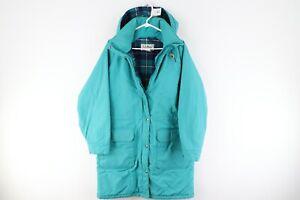 Vintage 90s LL Bean Womens Medium Wool Lined Hooded Parka Jacket Teal USA Made