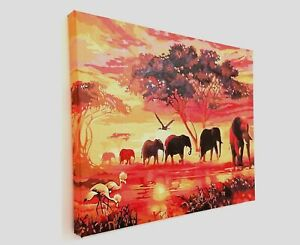 16x20inch Painting on streched canvas Frame African Sunset Elephant Herd