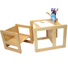 Childrens 3 in 1 Furniture  Set of 2, 1 Chair & 1 Table Solid Beech Wood Natural
