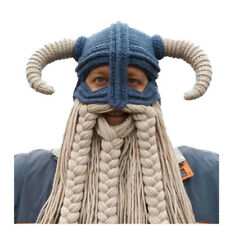 Men's Viking Hat Crochet Beard Hat Winter Warm Hat Halloween Viking Horns Hat