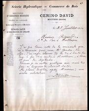 """MOUTIERS (73) SCIERIE MENUISERIE EBENISTERIE / BOIS MEUBLES """"David CERINO"""" 1910"""