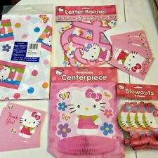 Hello Kitty Birthday Party LOT Centerpiece Tablecover Banner Blowouts Invites TY
