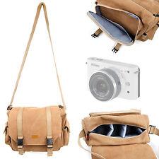 Tan Canvas Satchel Bag for Nikon 1J1 1J2 1J3 Cameras w/ Removable Compartments