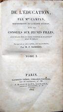 1824 – CAMPAN, DE L'EDUCATION, EDUCAZIONE INSEGNAMENTO ISTRUZIONE GIOCHI FRANCIA