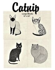 CATNIP - Set of 4 Large Cat Quilt Blocks - Moda Fabric