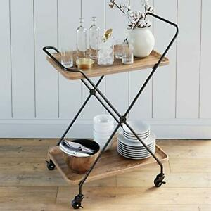 Nathan James Hallie Retro Mid-Century Rectangle Rolling Bar or Serving Cart w...