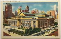 Vintage Old Linen Era Postcard Public Library New York City NY Colourpicture