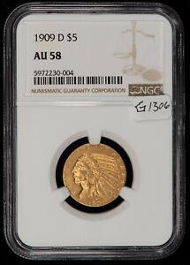 1909-D G$5 Indian Head Gold Half Eagle - NGC AU 58 - SKU-G1306