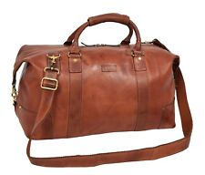 Classic Real Leather Large Organiser Holdall Tan Cross Body Gym Weekend Bag