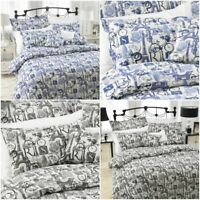 Luxury Eiffel Tower Paris Duvet Bedding Set 100% Poly Cotton Single Double King