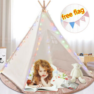 Kids Teepee Tent Play For Boy Girl Indoor Outdoor Heavy Cotton Canvas Teepee NEW