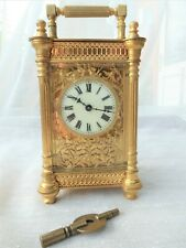Stunning Authentic French Carriage Clock Gilt Filigree Front 8 Day Enamel Dial
