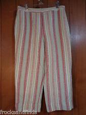 Capri pants LARRY LEVINE Linen blend PETITE multi-color Lined 12P