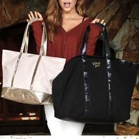 Victoria's Secret Sparkle Carryall & Weekender Tote Set of 2 New
