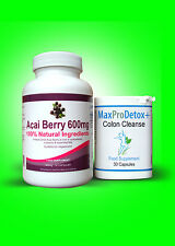60 Acai Berry Extreme And 30 Max Pro Colon Cleanse Detox