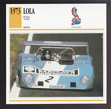 1973 Lola T292 Ford-Cosworth Engine Race Car Photo Spec Sheet Info ATLAS CARD