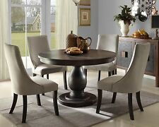 NEW 5 piece Modern Brown Dining Room Furniture Round Table & Gray Chairs Set C6B